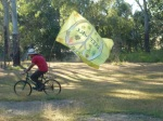 Nick cycling with the Great Flag